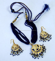 Vintage Rajasthani Golden Blue Lakh Necklace and Earring Set