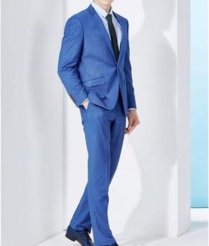 bc5c9bb400c woole  Cotton Material and Tuxedo Suits Style blue coat pant men suit
