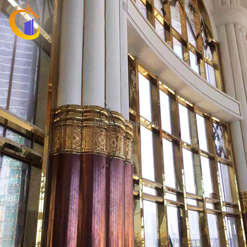 Hotel Stainless Steel Sheet Precast Interior Roman Decorative Steel Columns.