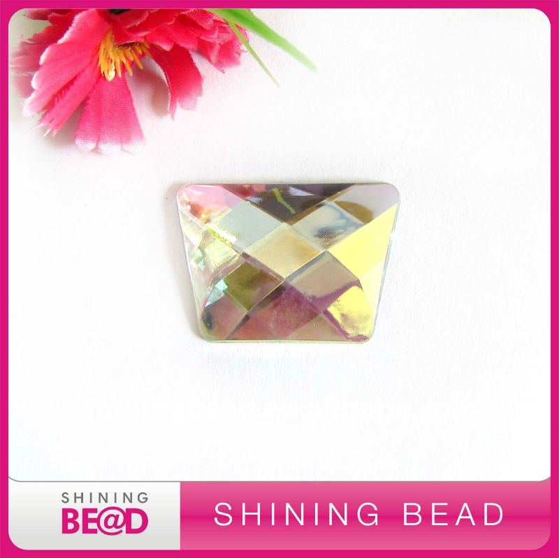 Square Acrylic Rhinestone With Two Holes