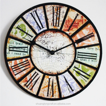 Jam dinding dari Negara Perancis Gaya Tuscan Perakitan DIY Jam Vintage  Eropa Kreatif Tanpa Bingkai Kayu f5909f7291