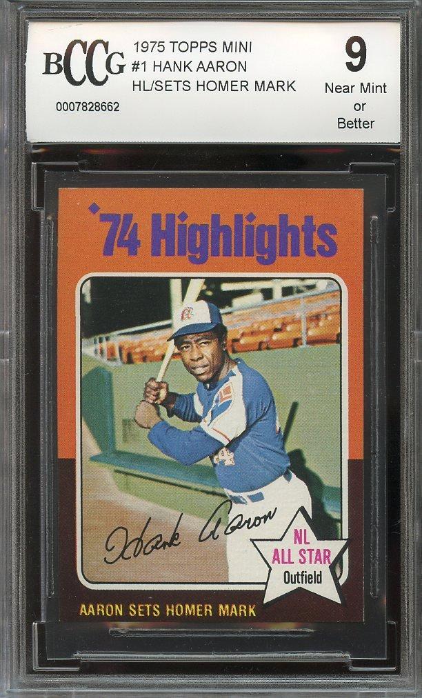 1975 topps mini #1 HANK AARON HL/SETS HOMER MARK braves (CENTERED) BGS BCCG 9 Graded Card