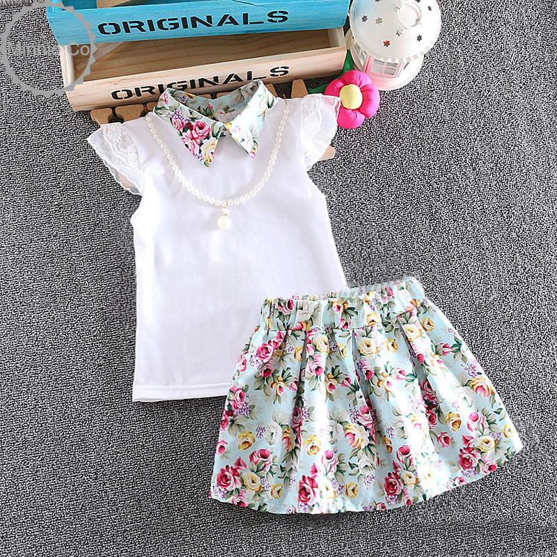 Hot sale babies kids clothes summer girls clothing white plain blouse+ffloral skirt suits 2 pcs lace baby girl clothing set
