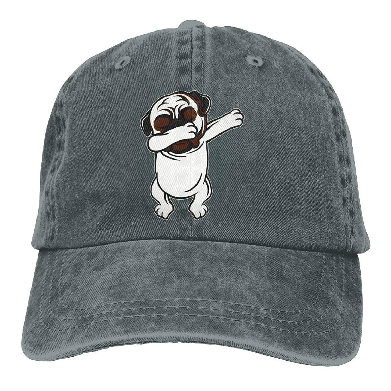 890103d9c2f Get Quotations · Funny Cap Funny Pug Dab Dabbing Pug Denim Baseball Caps  Unisex Dad Caps Trucker Hat Black