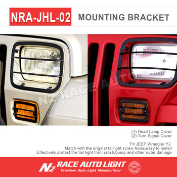 N2 Wholesale Jeep YJ Parts 4 Pieces Signal U0026 Headlight Guards In Black For Wrangler  YJ