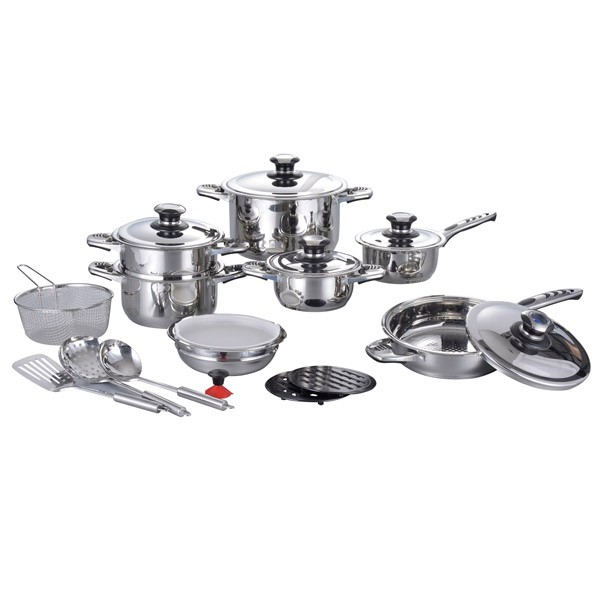 Shinning bakelite material handle casserole stainless steel cookware set