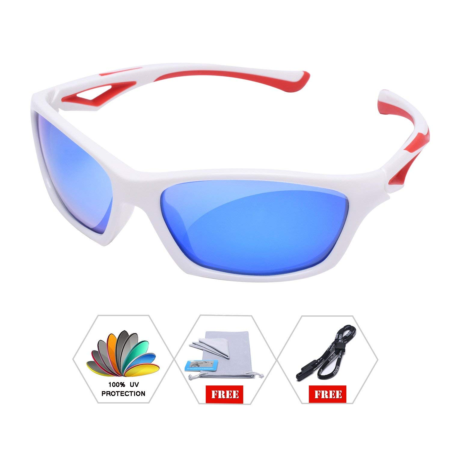 8a176c7115 Get Quotations · AODUOKE Sports Polarized Sunglasses For Kids Children Boys  And Girls Shades With Strap TR90 Unbreakable Frame