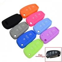 SCC008001 Silicone Car Key Fob Cover Case Skin 3 Buttons For A3 A4 A5 A6 A7 TT Q3 Q5 Flip Folding Remote Protected