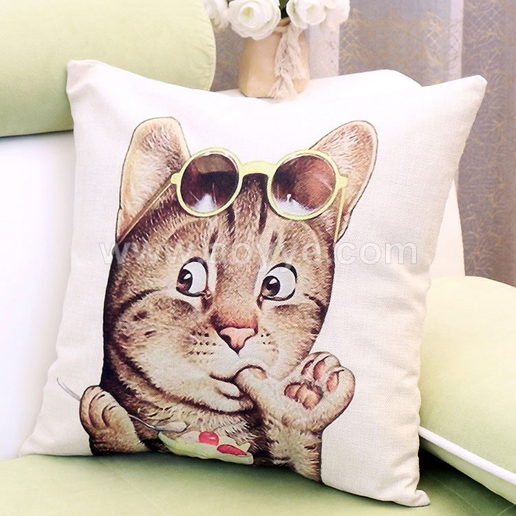 Manufacturers wholesale and sale printed cartoon cute kitten m household linen pillow pillows