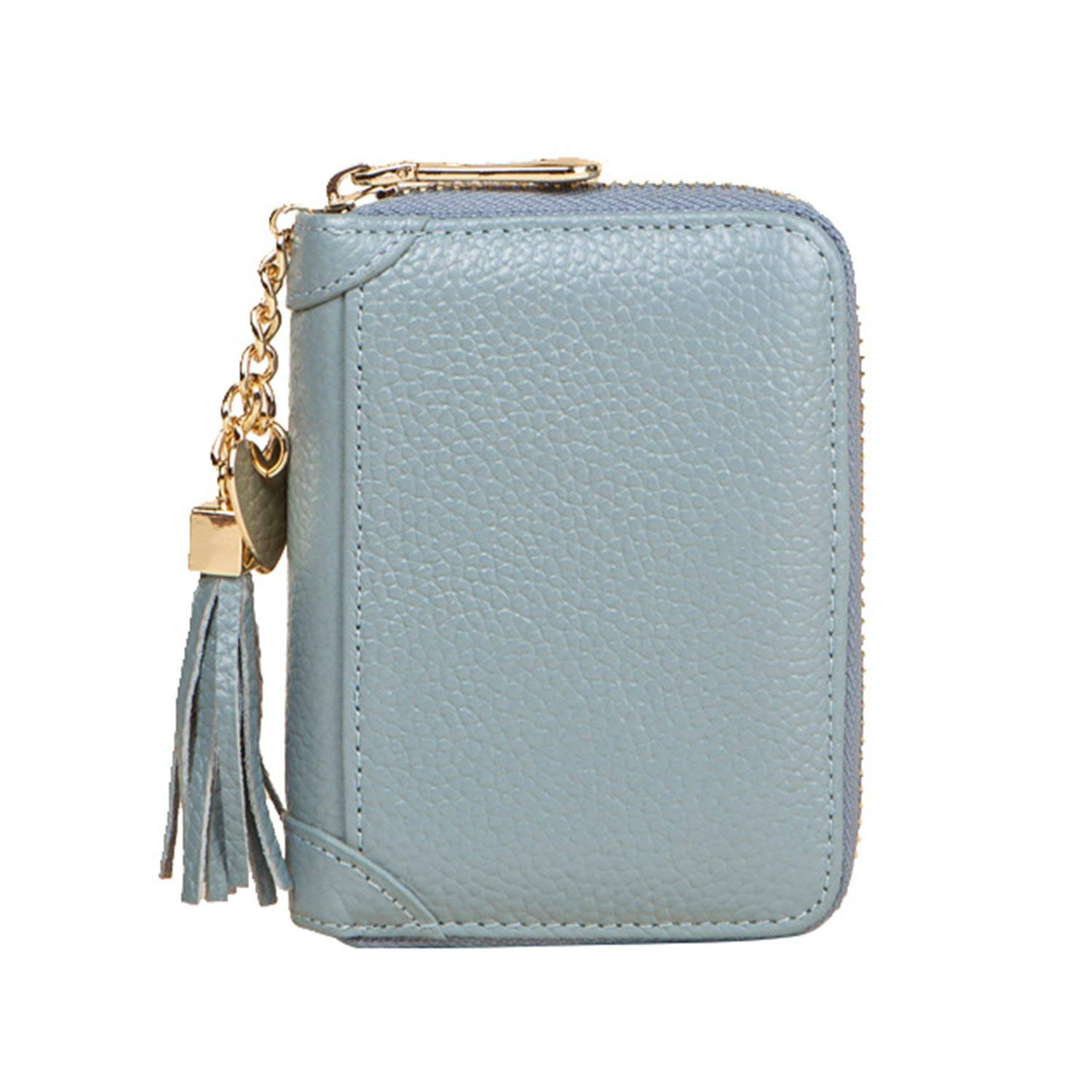 Women Wallet Leather Credit Card Holder Zip Purse with ID Window,2 Size