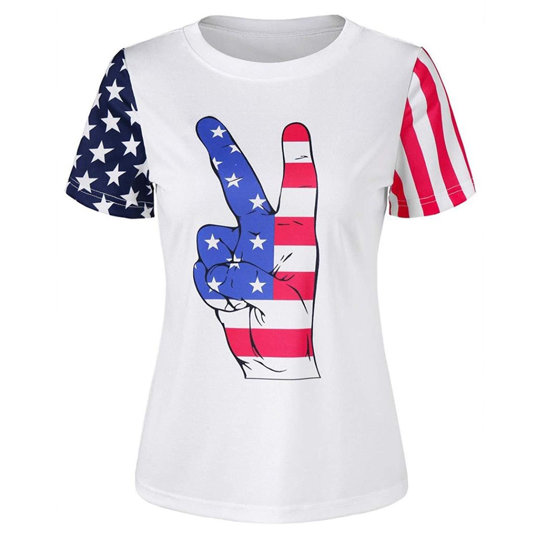 2018 Caopixx Men Simple Casual Blouse Short Sleeve T-Shirt American Flag Printed Tops Tee