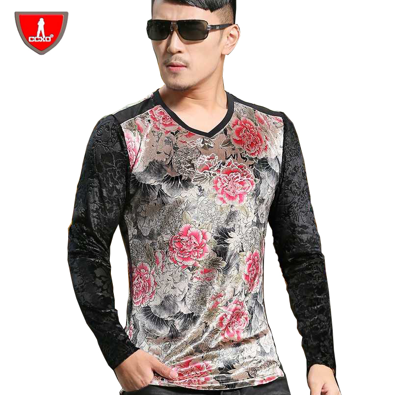 ccxo gold velvet mens printed t shirts fashion 2015 long. Black Bedroom Furniture Sets. Home Design Ideas