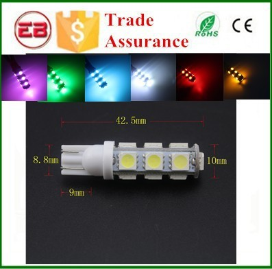 Usine prix T10 W5w 194 Base de la lampe 168 5050 13 Led 13 Smd Led Auto Light Wedge T10 Led ampoule Led License Plate lampes