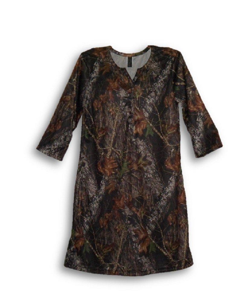 Mossy Oak Camo Night Shirt Womens Plus Silky Camouflage Gown 2X (Mossy Oak Break Up, XXL)