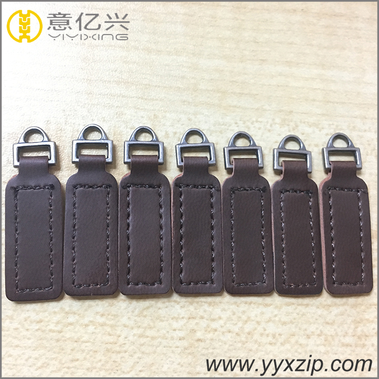 Soft touching genuine leather custom size zipper pull custom metal leather