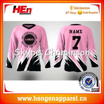 Sublimation Custom Cheap Pink Ice Hockey Jerseys Buy Funny