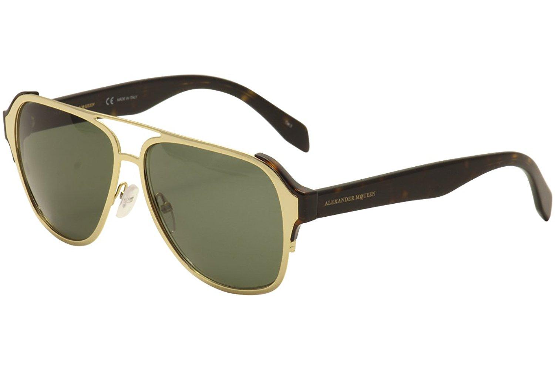 746cb4d035f Sunglasses Alexander McQueen AM0012S AM 0012 S 12 GOLD   GREEN   AVANA