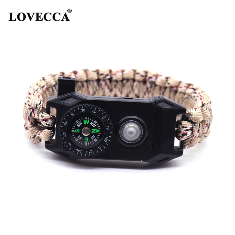 New arrival outdoor LED paracord survival bracelet with led flash light, compass, firestarter, whistle survival kit