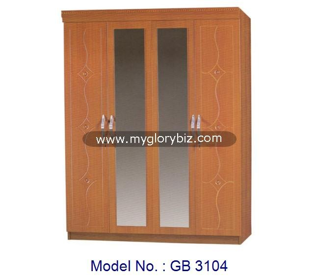 Modern Big Armoire Wardrobe With 2 Mirror MDF Bedroom Furniture, wardrobe Malaysia, cheap wooden closet bedroom almirah designs
