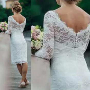 b31fc7c308d6e Casual Informal Knee Length Short Lace Wedding Dresses Bridal Gowns with  Long Sleeves