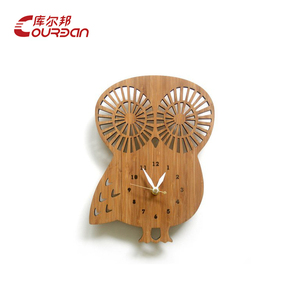 china supplier custom laser cut wood owl shape watch men clock for sale