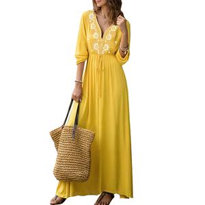New 2019 summer Bohemian style v-neck voluminous long sleeve maxi women dresses