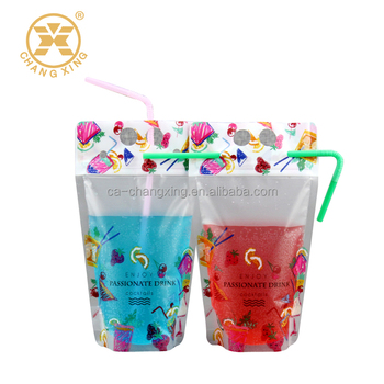 300ml 500ml disposable resealable ziplock clear drink pouch with handle