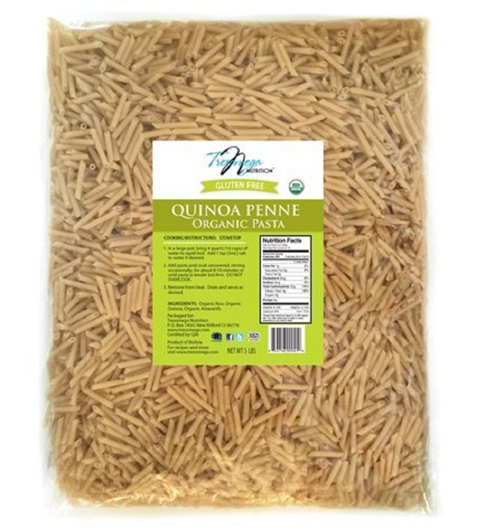 TresOmega Nutrition–Organic Quinoa Penne Pasta–Made with Organic Quinoa, Rice and Amaranth for A Meal High in Protein and Fiber–5 Pound Bag