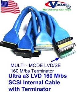 5 PCS / PACK, Round Ultra a3 LVD 160 M/bs SCSI Internal Cable with Terminator, (10 Connector 9 Drive)