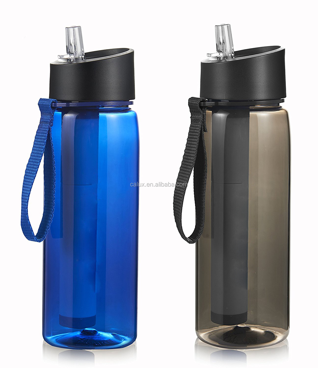 SURVIVAL CAMPING WATER FILTER PURIFIER SPORTS BOTTLE lake river filtration straw