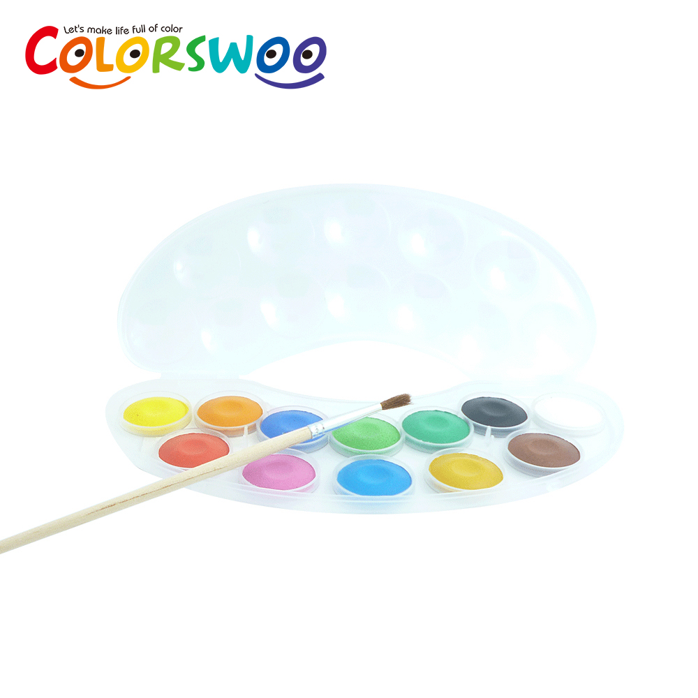 12 Colors 2.5CM Water Color Cake With 1PCS Paint Brush