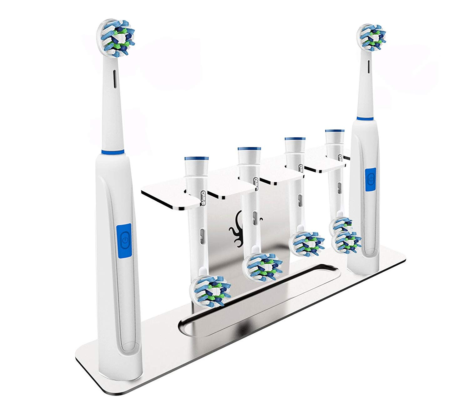 OCTOPODIS - Stainless Steel Electric Toothbrush Holder & Electric Toothbrush Heads Holder (Head Stand), Compatible with ORALB Braun, Adhesive or Free-Standing Installation