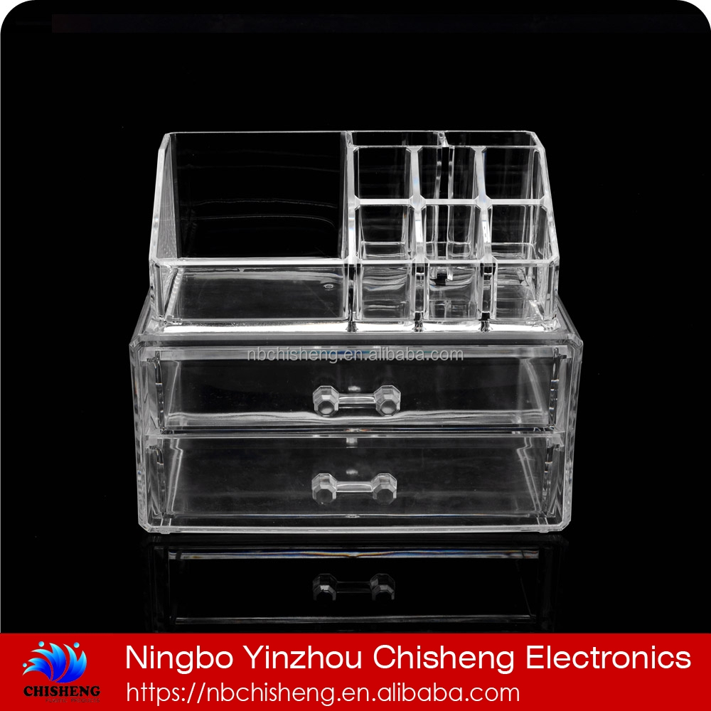 high quality 2 drawer acrylic makeup organizer acrylic makeup storage box acrylic makeup organizer box