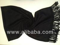 Cashmere Black Solid Color Pashmina Shawl