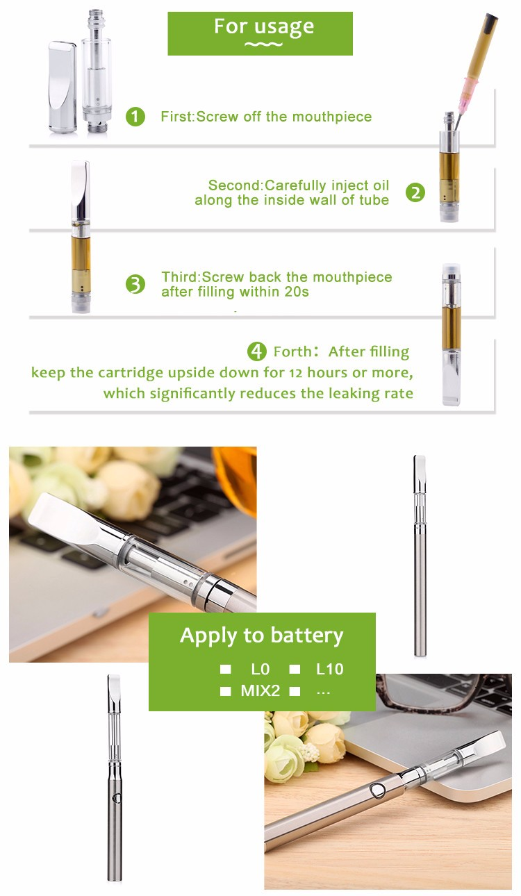 Leaking Proof Vape Pens Cbd Thc Glass 510 Oil Vaporizer Cartridge