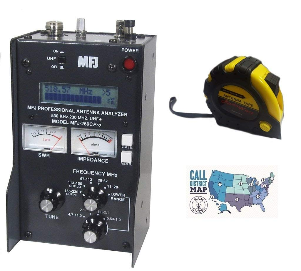 Bundle - 3 Items - Includes MFJ-269CPRO HF/VHF/UHF (.530-230 MHZ,430-520) SWR ANALYZER with the New Radiowavz Antenna Tape (2m - 30m) and HAM Guides Quick Reference Card