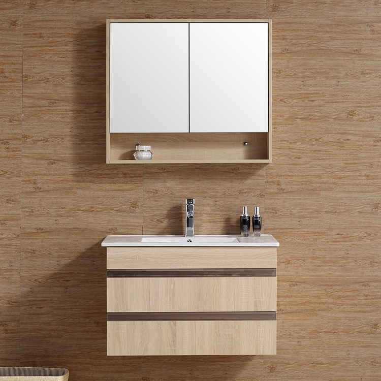 2017 New Arrival Modern Nordic Style Natural Wood Color Bathroom Washbasin Cabinet