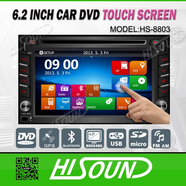 High quality 6.2inch touch screen gps bluetooth aux 2 din car auto radio
