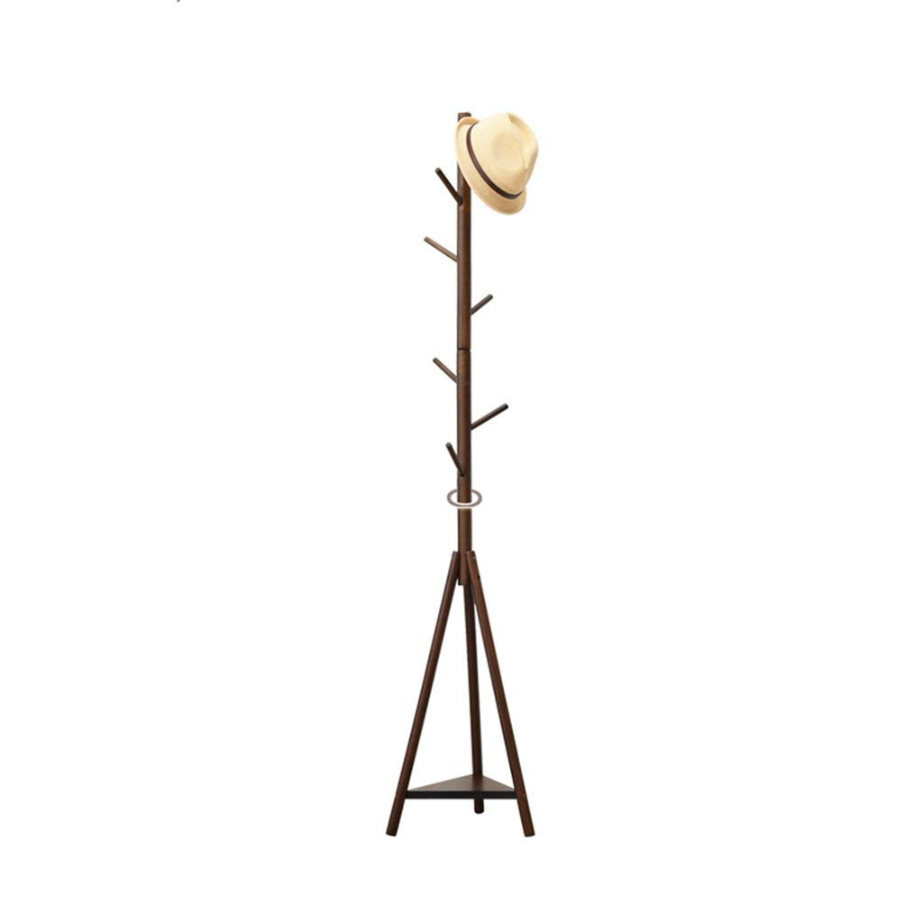 COAT RACK Free Standing, Coat Hook Hat Stand Free Standing Display Hall Tree, Clothes Hat Holder With 7hooks And Tripod Base, Hook Rack With Triangle Shelf (Color : Brown)