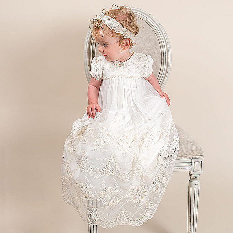 2016 Vintage baby girls Christening gowns baptism dresses for girl boys toddlers outfit short sleeves with two tiered lace