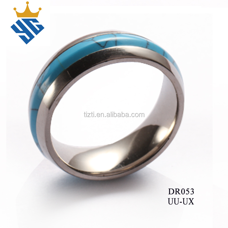 New arrival european style polished steel ring with turquoise inlay