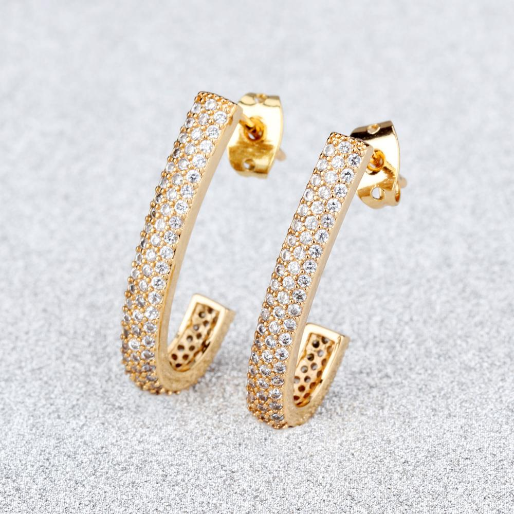 Custom America Design Women Jewelry Stud Zircon 14 K Gold Earring