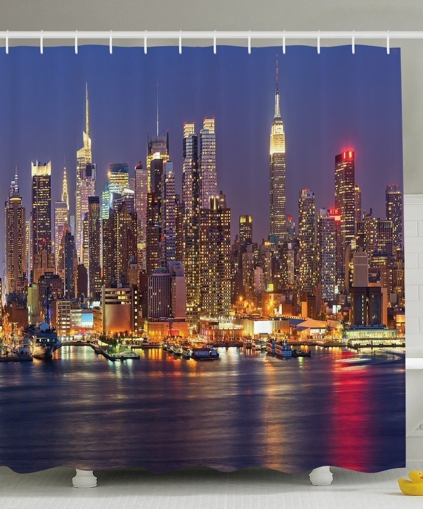 Cityscape Art Deco Collection, NYC New York City Night Skyline Scenery View Artwork Picture Prints, Polyester Fabric Bathroom Shower Curtain Set with Hooks, Blue/Taupe/Purple/Yellow/Orange
