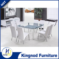 Best seller 8 seaters square dining table with bending glass