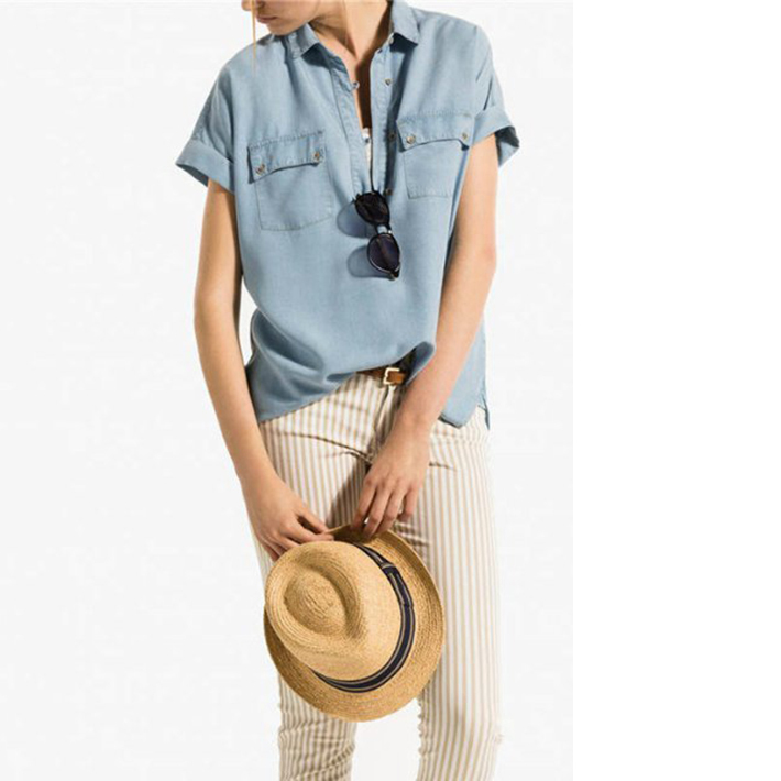 0446da9f596a Get Quotations · 2015 Women Swag Pockets Washed Denim Jeans Shirts Blouse  Summer Style Ladies Casual Roll Up Short