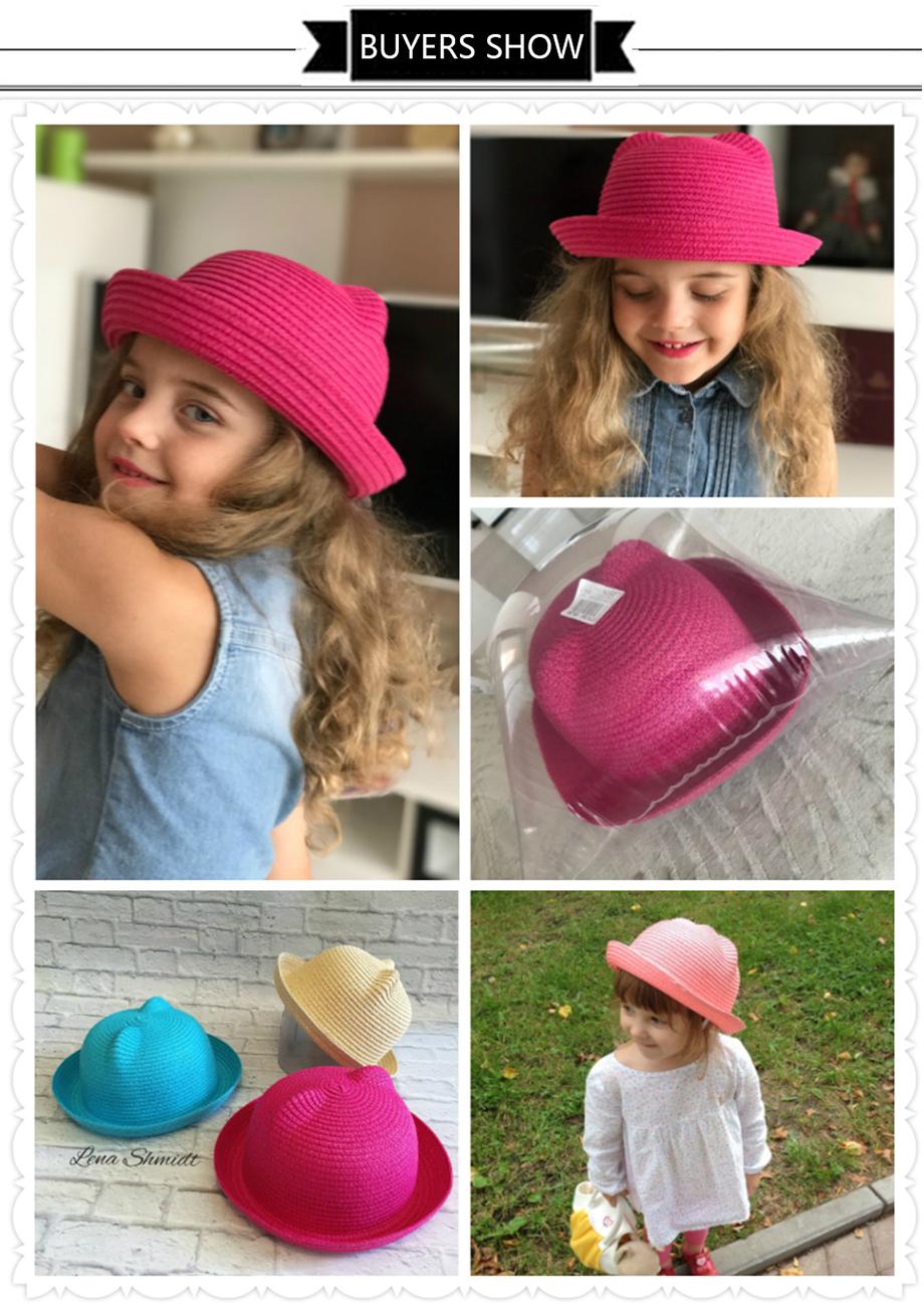84f7e3296f1 Fashion Ears Straw Hats Kids Beach Caps Baby Hats For Girls Bucket Hat Boys  Cap Children
