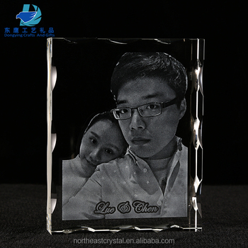 Laser Etched Picture Crystal Cube in either horizontal or vertical orientation