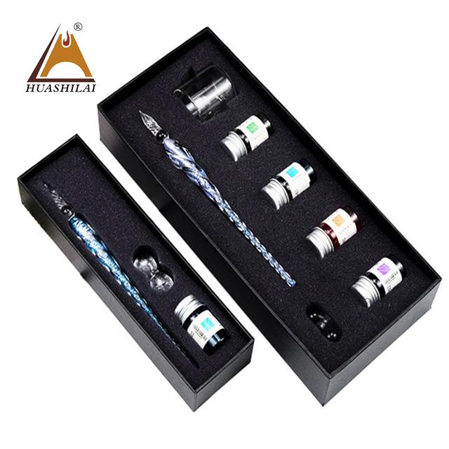 Molshine pluma de inmersi/ón de vidrio de vidrio de borosilicato alta hecha a mano Pluma de firma de vidrio Regalo de negocios Rosado