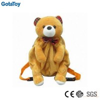 Customized plush backpacks stuffed soft animal bag toy plush teddy bear backpacks