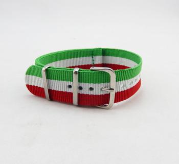 a3f5282fd Estilo bandera Italia bandas de reloj 24mm Rhino de la OTAN de nylon correa  de reloj